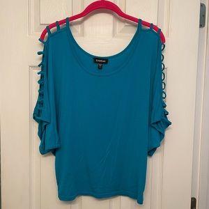 Bebe turquoise cutout dolman sleeve top S